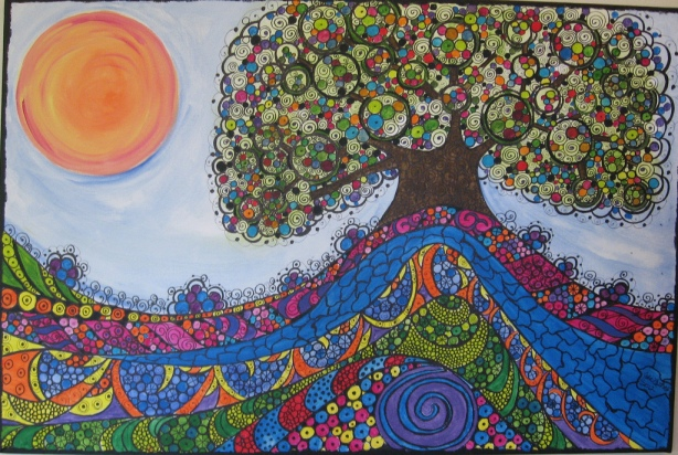 """TREE OF HOPE""    Breast Cancer Survivor Tree   SOLD"